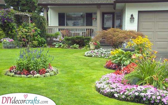 Islands of Flowers - Front Yard Landscaping Ideas on a Budget