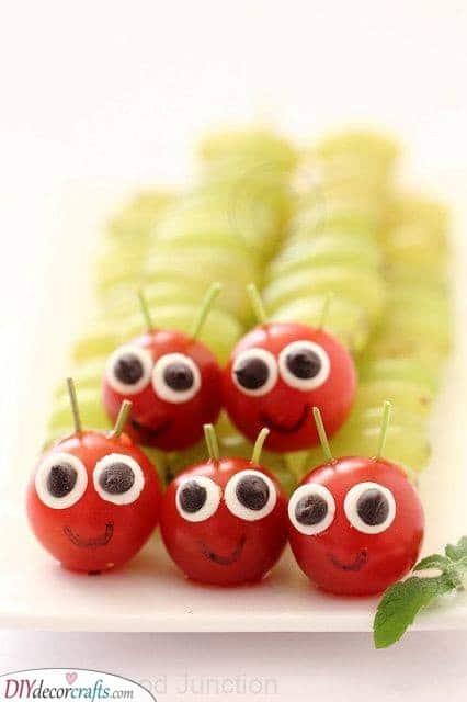 Cute Caterpillars - Healthy Baby Shower Foods