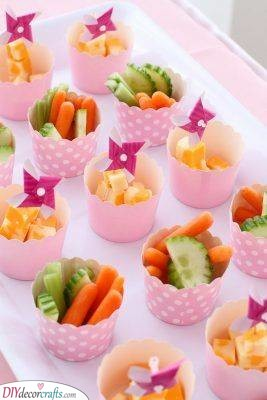 Cups of Fruit and Veggies - Healthy Snacks