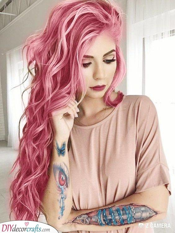 A Vibrant Pink - Hairstyle Ideas for Summertime