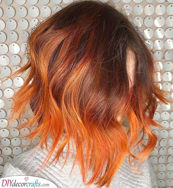 A Blend of Orange and Red - Summer Hairstyles for Short Hair
