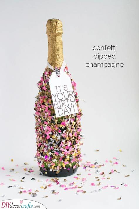 Confetti Dipped Champagne - Fun and Ready to Party