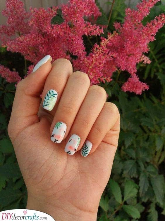 Cute Nail Ideas - Forest of Flamingos