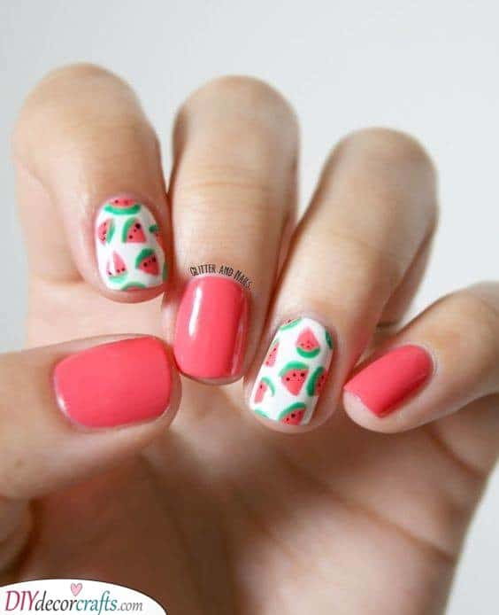Tiny Watermelons - Adorable Summer Nails