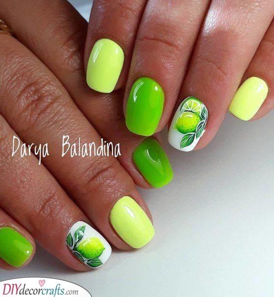 A Bit of Lime - Citrus Nail Ideas