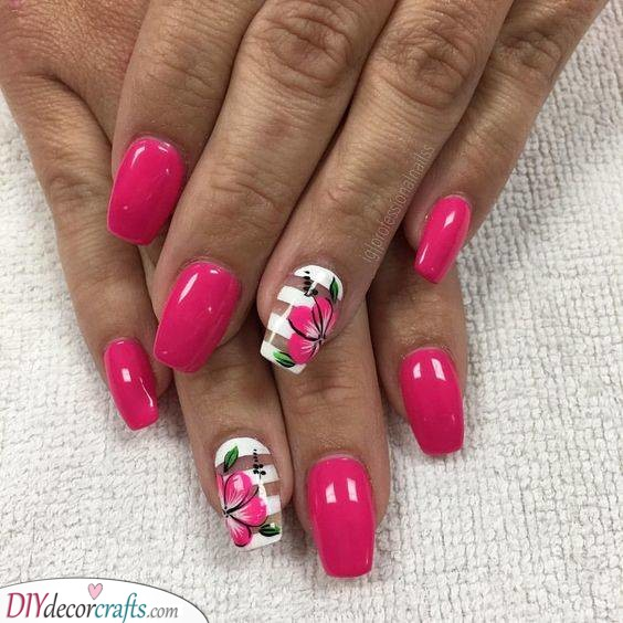 Hot Pink - Acrylic Nail Designs for Summer