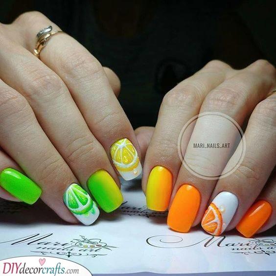 An Ombre of Citrus - Summer Nail Art