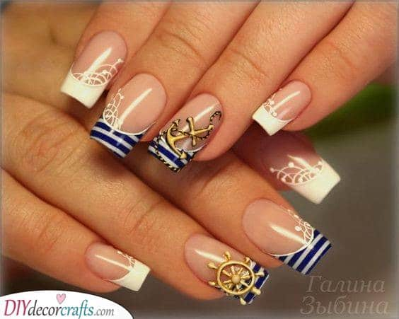 French Nautical Nails - Unique Summer Nail Ideas