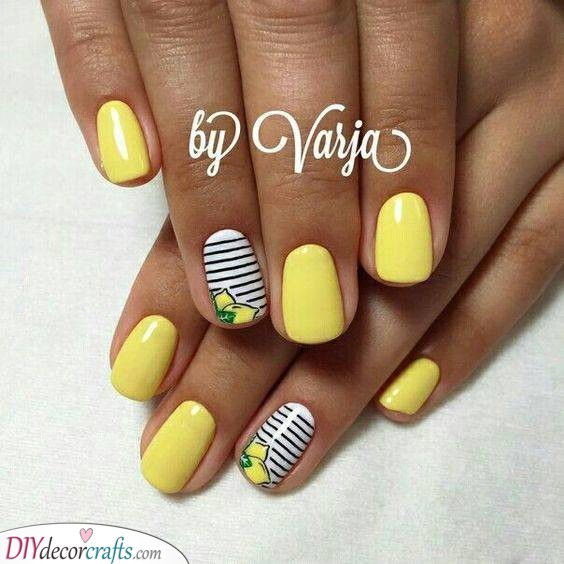 Lemons and Stripes - Yellow Happiness