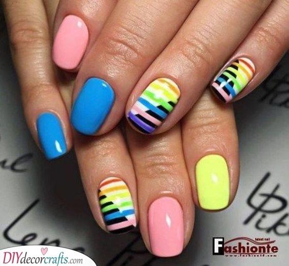 Rainbow Stripes - Fantastic Summer Nail Designs