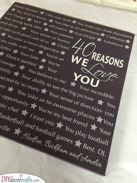 List of Reasons - Personal 40th Birthday Gifts