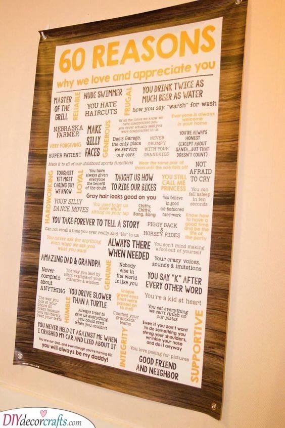 Sixty Reasons - 60th Birthday Present Ideas