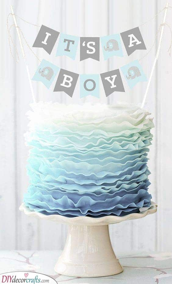 Blue Layers of Ruffles - Gender Reveal Cake