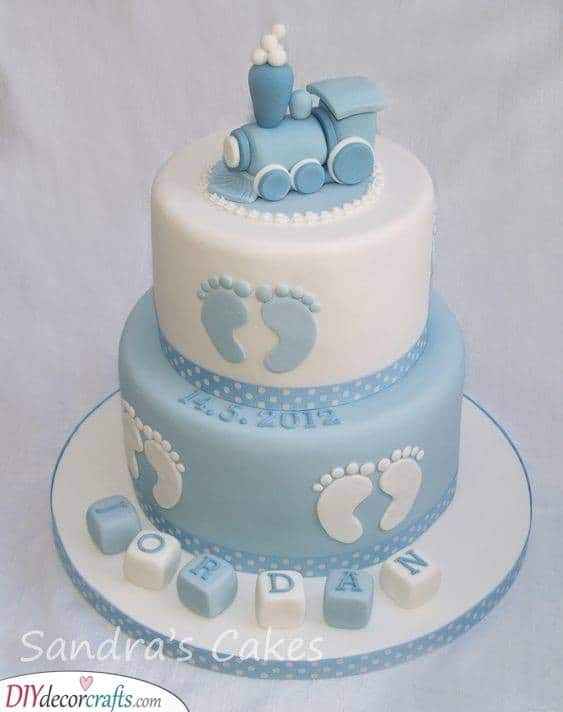 A Small Steam Train - Baby Shower Cake Ideas for Boys