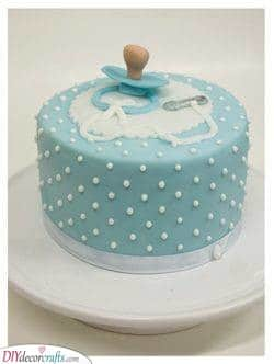 A Blue Pacifier - Baby Shower Cakes for Boys