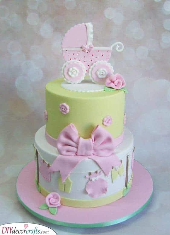 Pretty Pink Pram - Baby Shower Cake Ideas