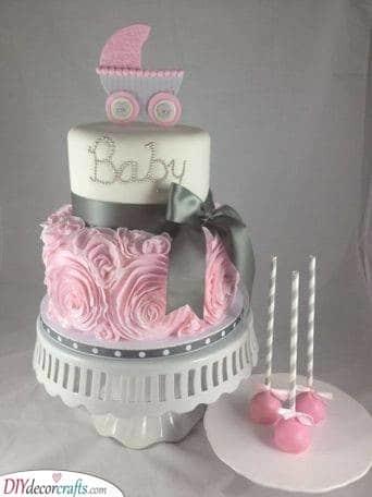 A Cute Pram - Baby Shower Cake Ideas for Girls