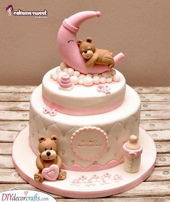 Sleeping Teddy Bears - Cute Baby Shower Cake Ideas for Girl