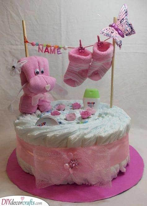 Pretty in Pink - Diaper Cake Ideas