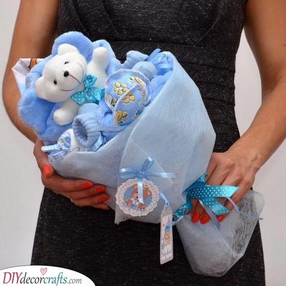 Bear in a Blanket - A Baby Bouquet