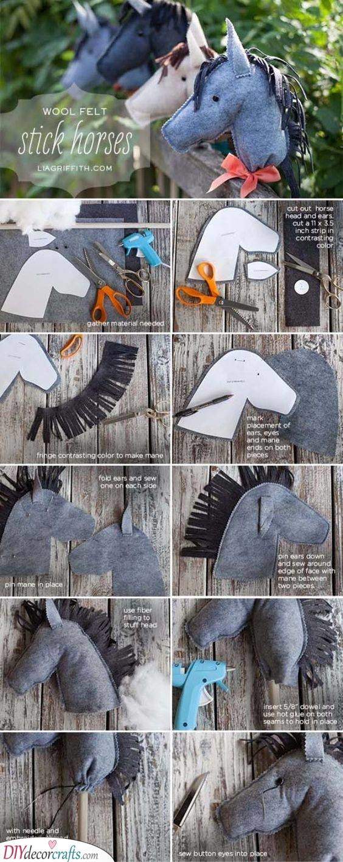 Wool Felt Stick Horses - DIY Birthday Presents for Kids