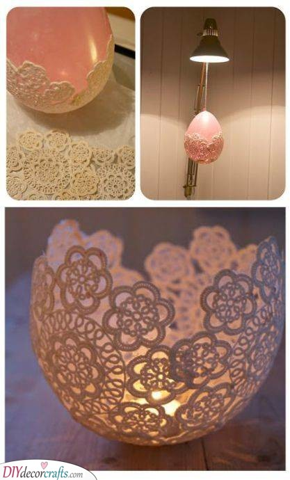 A Lace Candle Holder - Balloon Crafts