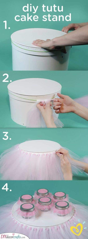 DIY Tutu Cake Stand - Cute Decor Ideas