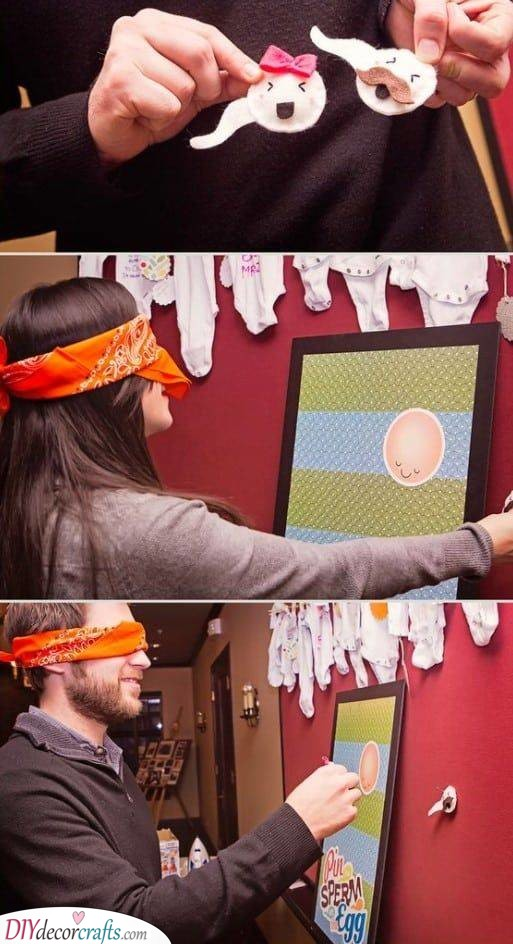 Pin the Sperm on the Egg - Unique Baby Shower Games