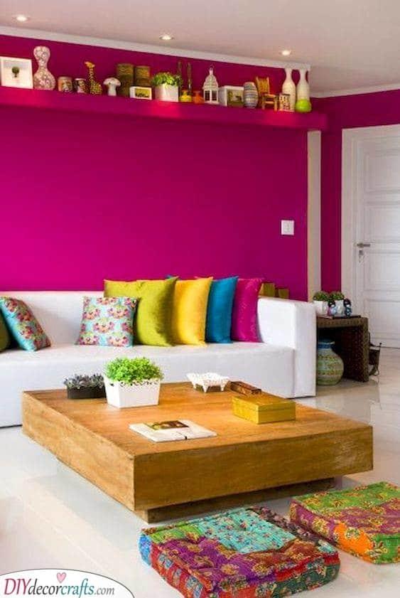 A Hot Pink Wall - Vivid Colours