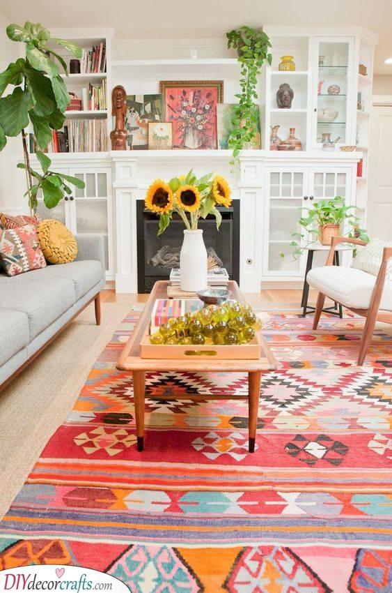 Retro and Boho - Apartment Living Room Ideas