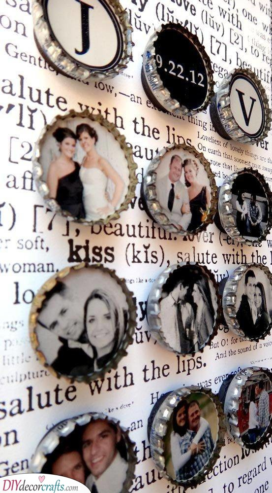 Photos in Bottle Caps - Great Birthday Gift for Wife