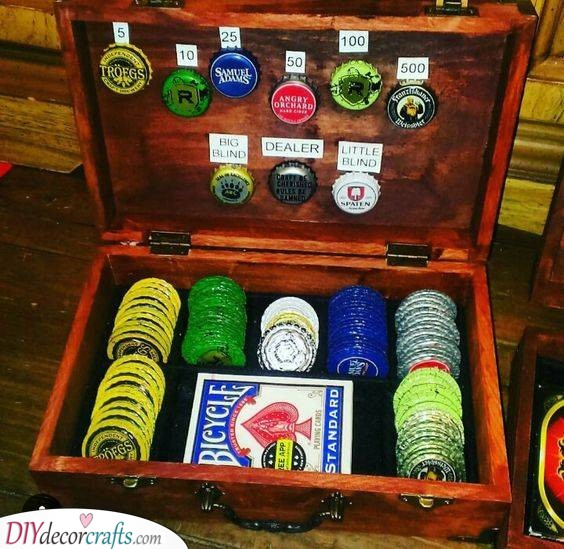 A Game of Poker - With Beer Cap Tokens