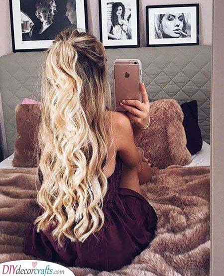 Half Up Ponytail - Cute Hairstyles for Long Curly Hair