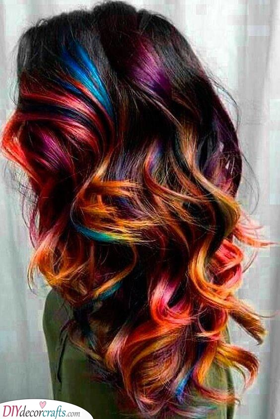 Rainbow Curls - Curly Hairstyles for Long Hair