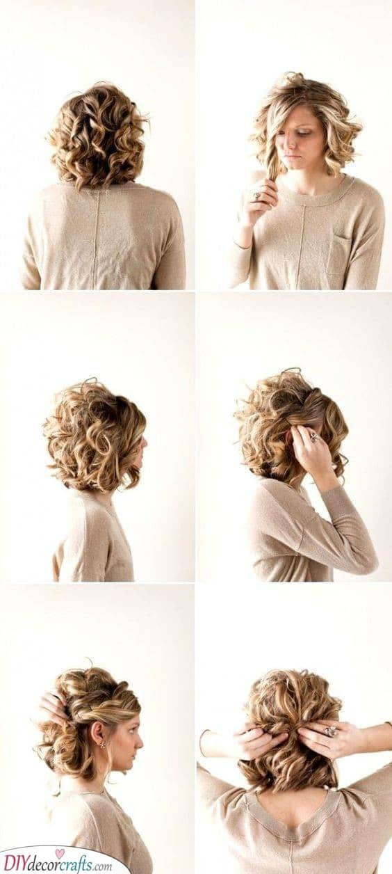 An Easy Updo - Hairstyles for Curly Short Hair