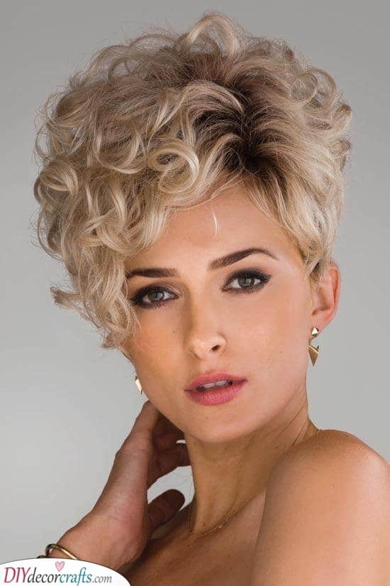Layered and Asymmetric - Short Curly Hairstyles for Women