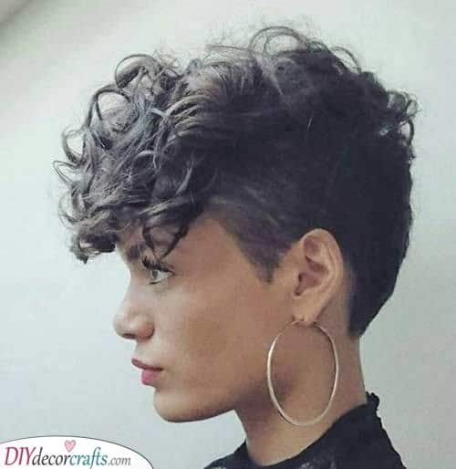 Shaved on the Side - Short Curly Hairstyles for Black Women