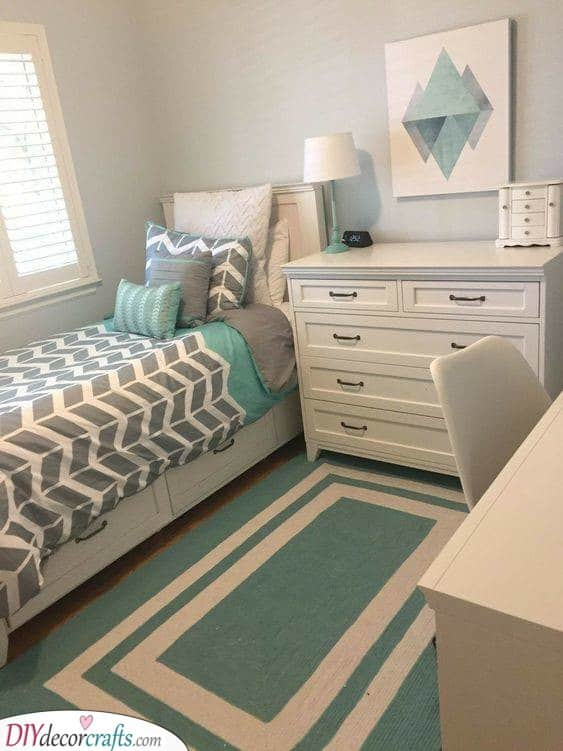 Geometric and Modern - Chill Bedroom Ideas for Small Rooms