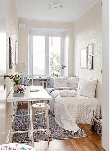 A Pure White - Bright Bedroom Ideas for Small Rooms