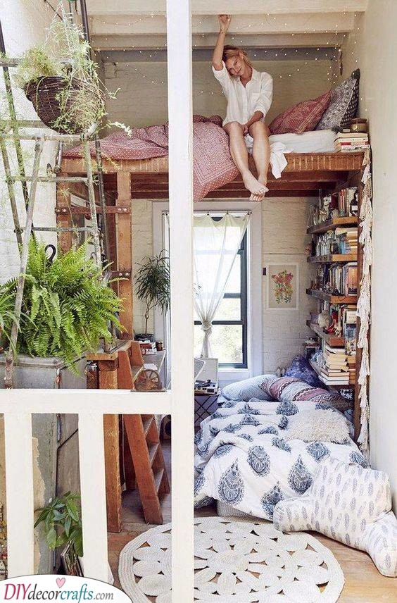 A Loft and a Library - Bedrooms Ideas for Small Rooms