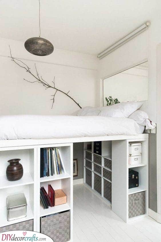 Boxes Underneath - Small Bedroom Decorating Ideas on a Budget