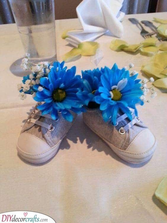 Baby Shoes - Cute Baby Shower Table Centrepieces