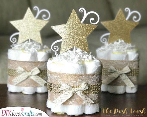 Golden Stars - Diaper Cakes