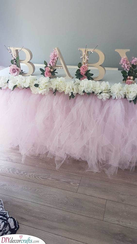 Floral Letters - Gorgeous Baby Shower Table Centrepieces