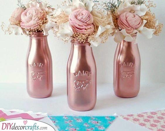 Flowers in Metallic Vases - A Rustic Feel