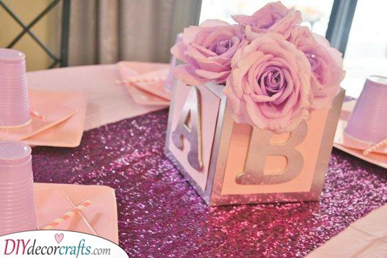 Boxes of Roses - Baby Shower Table Ideas