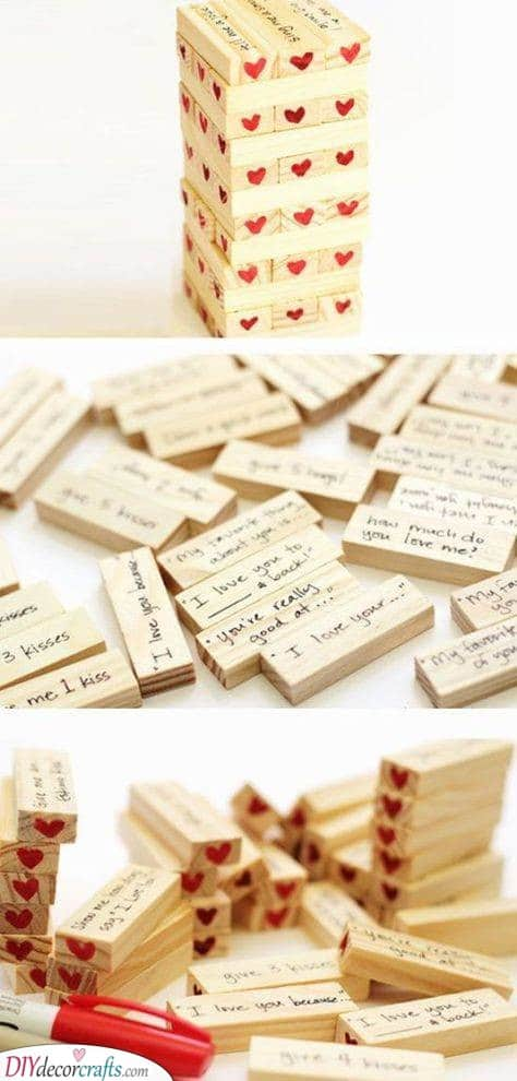 Jenga Filled With Love - Creative Birthday Gifts for Boyfriend