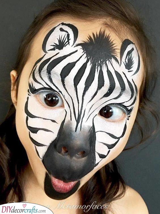 A Striped Zebra - Face Painting for Kids