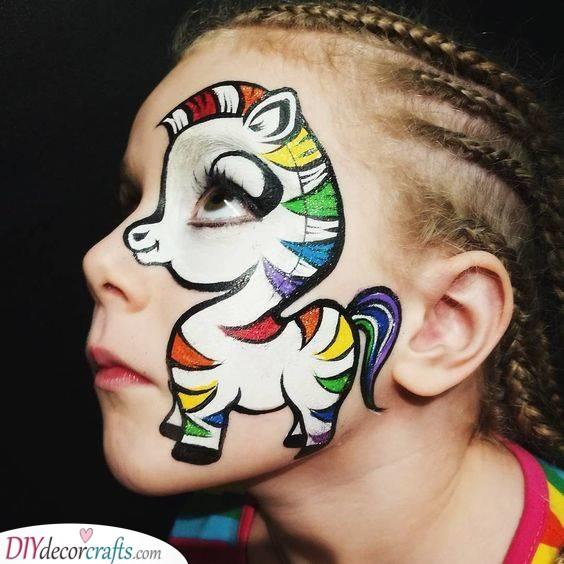 A Rainbow Pony - Face Painting Ideas for Kids