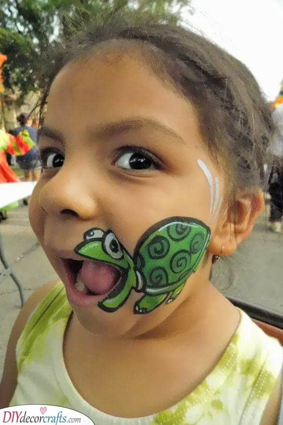 A Happy Turtle - Face Painting for Kids